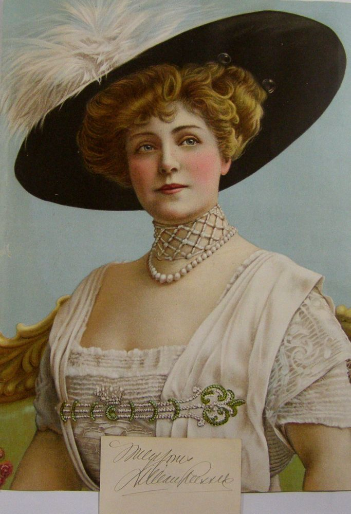 Card, signed, with chromolithograph portrait. Lillian Russell.