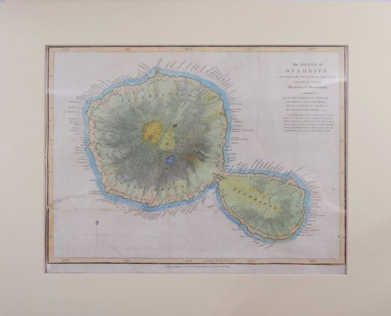 The Island of Otaheite, According to the Survey taken by Cap. Cook 1769. Corrected by his later Astronomical Observations. James Cook, Tahiti.