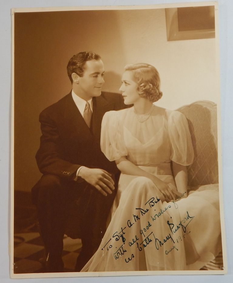 Mary Pickford and Buddy Rogers, Inscribed. Autographed Photograph.