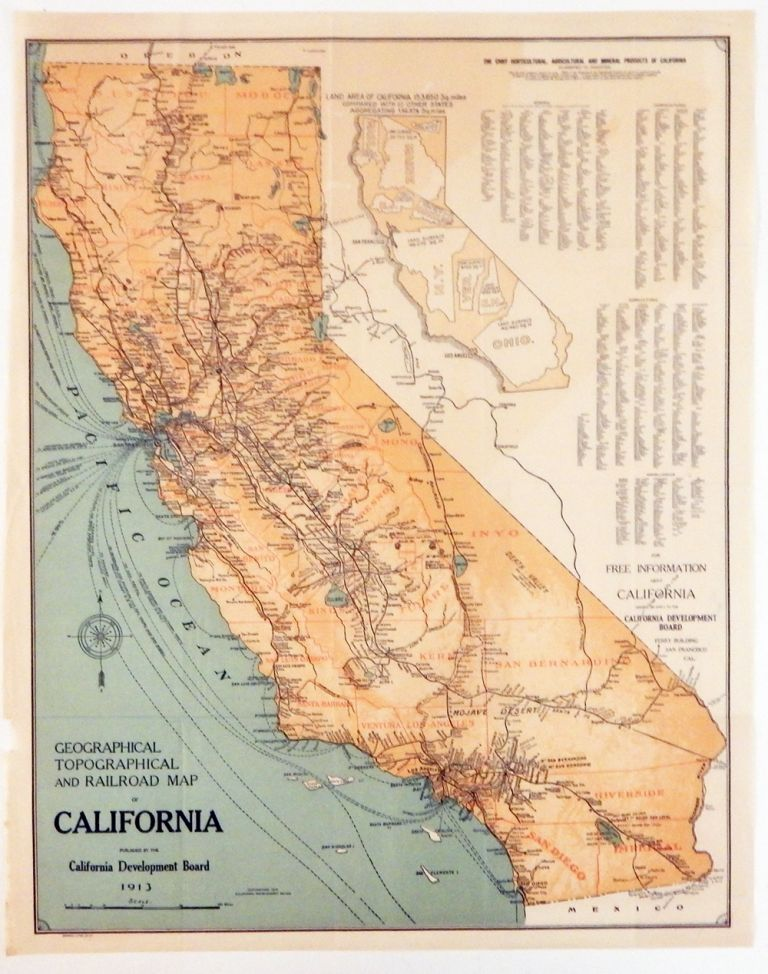 Geographical, Topographical and Railroad Map of California. Map of California.