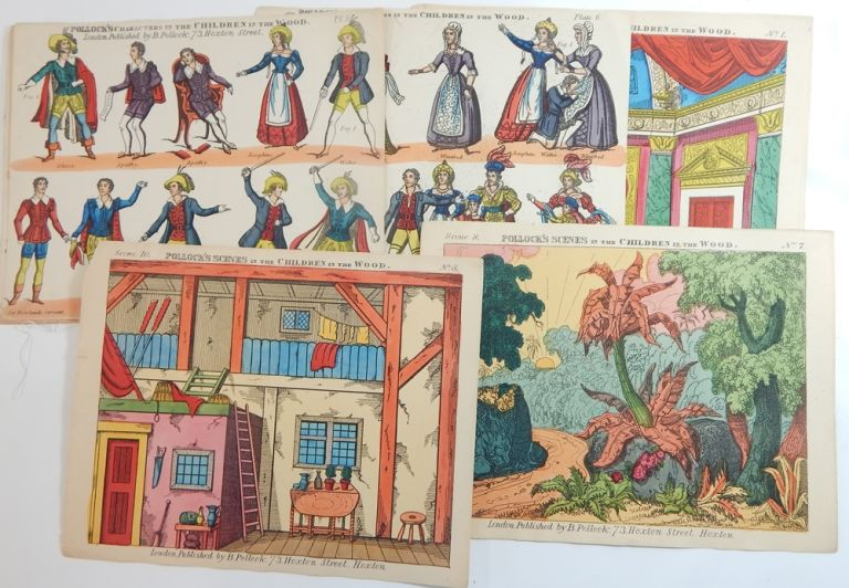 Small Collection of Sheets from Oliver Twist, Battle of Waterloo, Sleeping Beauty, Children in the Wood, and Side Wings. Toy Theatre: Harlequinade, B. Pollock.
