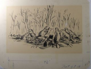 Ink Sketch of Beavers from an Unidentified Children's Book