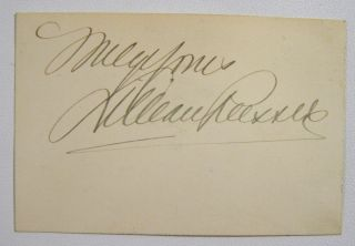 Card, signed, with chromolithograph portrait