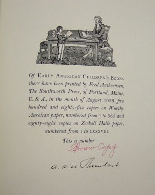 Early American Children's Books, with Bibliographical Descriptions of the Books in His Collection