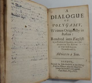A Dialogue of Polygamy, Written Originally in Italian; A Dialogue of Divorce