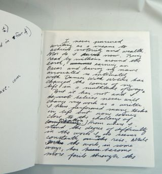 Handwritten Speech; Dances with Wolves; Library Tour Ephemera. Michael Blake