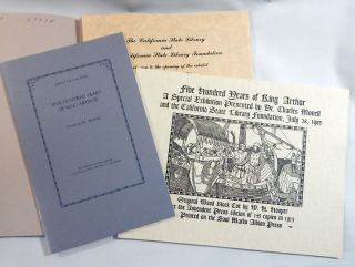 Arthurian Exhibit: Four ephemera items from the Arthurian Exhibition of 1985: Library Bulletin, Exhibition Booklet, Invitation and Keepsake printed with the Ashendene Press woodblock