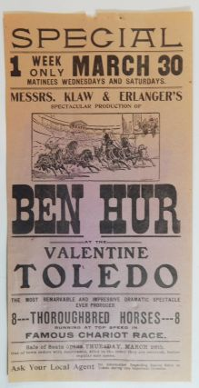 Messrs. Klaw & Erlanger's Spectacular Production of Ben Hur. Broadside