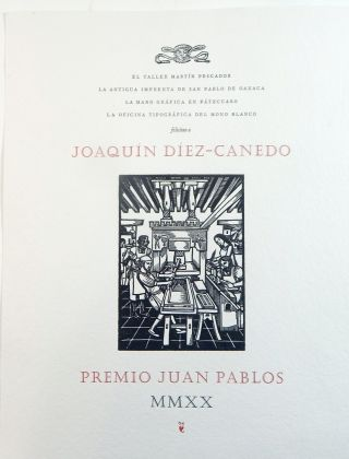 Broadside congratulating Joaquin Díez-Canedo on receipt of the Juan Pablos Awars for 2020....